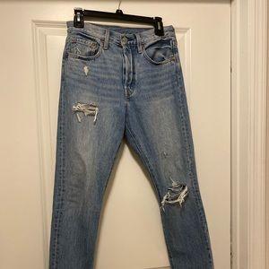 Levi 501 skinny jeans; women's size 26